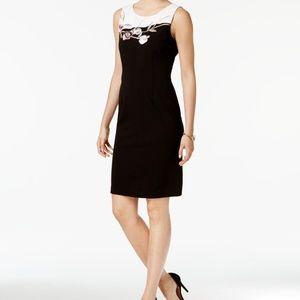 Ivanka Trump Embroidered Scuba Sheath Dress